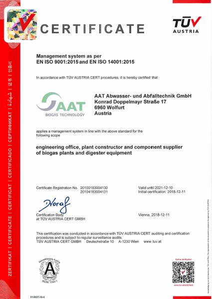 Certificates and awards: AAT Abwasser- und Abfalltechnik GmbH